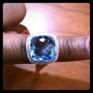 David Yurman 14mm Blue Topaz Ring Size 6